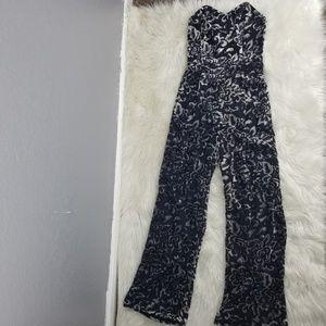 Velvet accent jumpsuit.